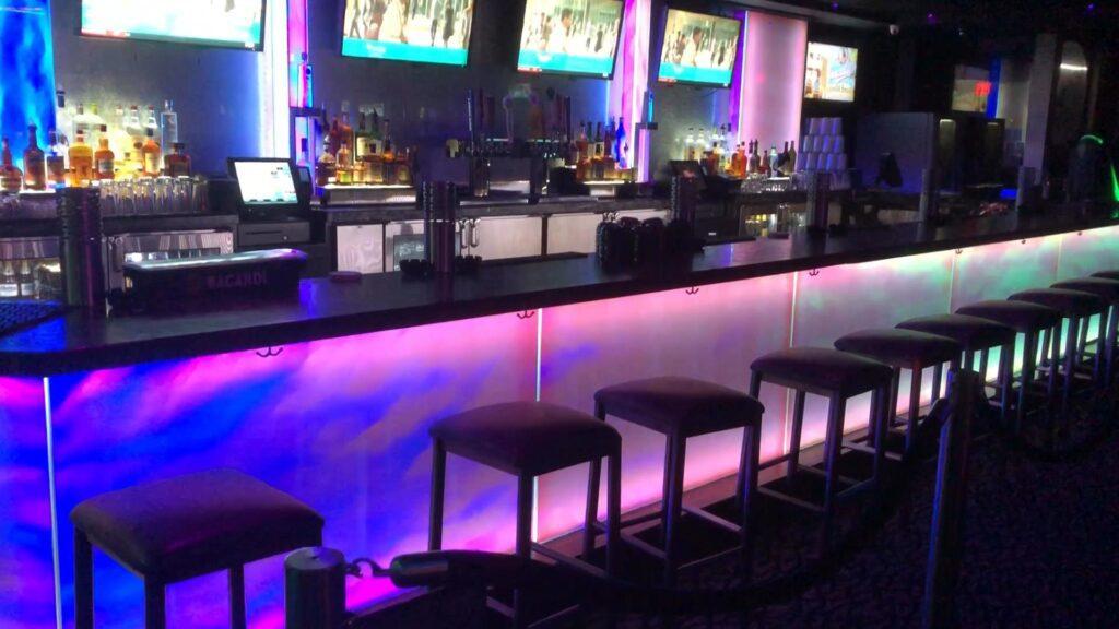 Photo of LED backlit bar with quartz bar top