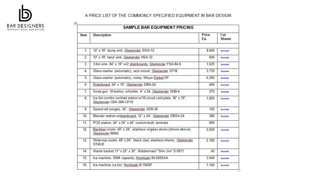 Commercial bar equipment retail price list