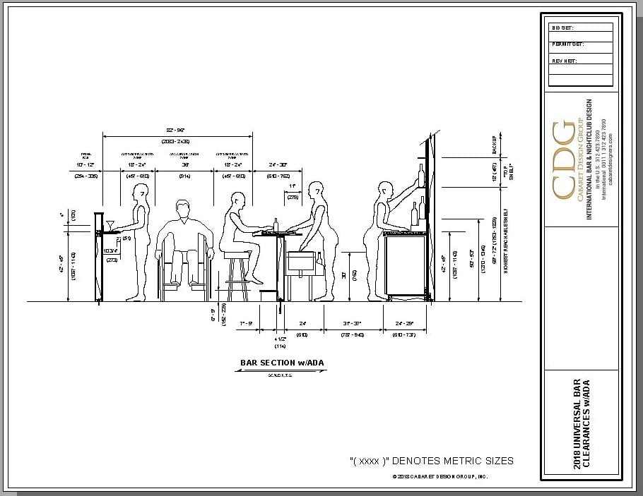 Architectural drawing of universal bar layout dimensions with ADA