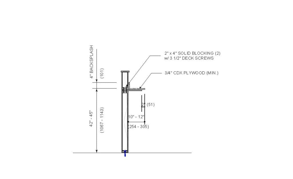 Architectural drawing of a free-standing drink rail