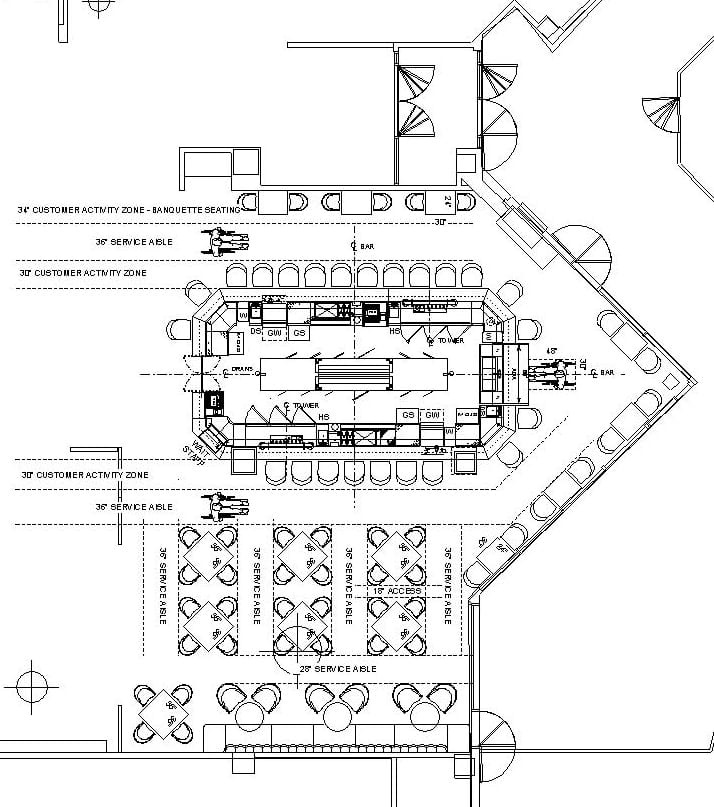 Architectural plan of bar and restaurant seating