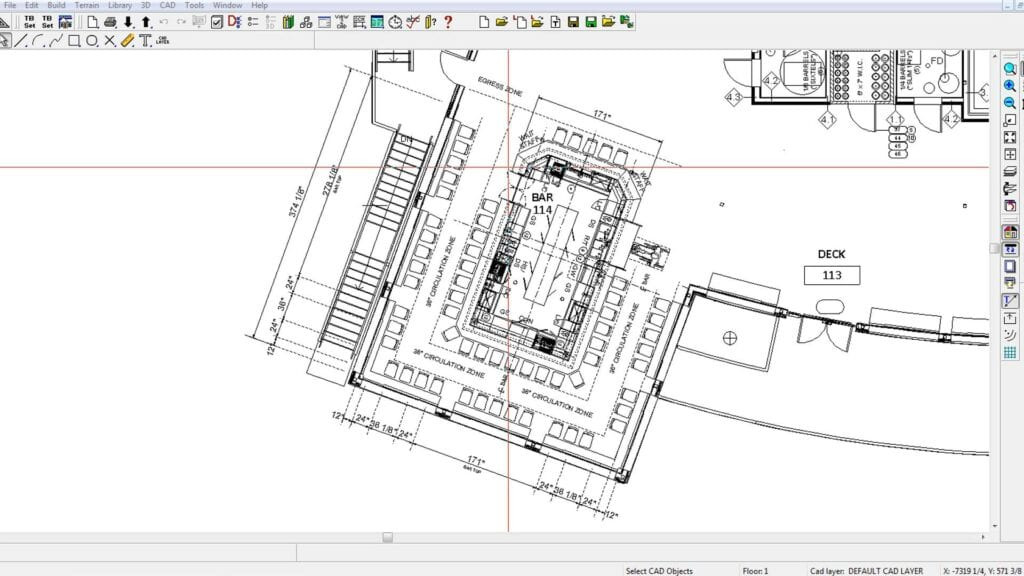 Architectural plan of a large bar into a given space