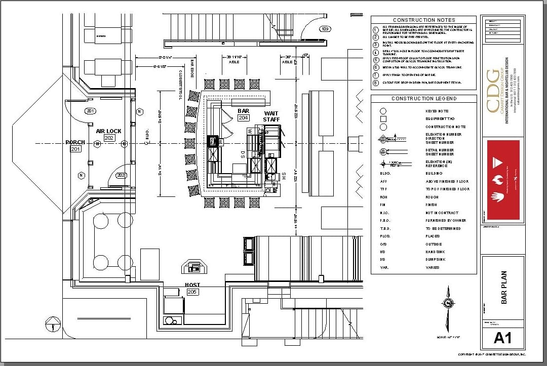 Architectural plan for a bar at a pizza restaurant