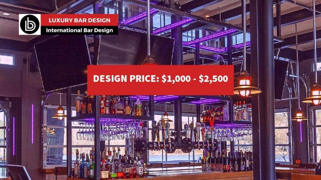 Custom iron and glass back bar design