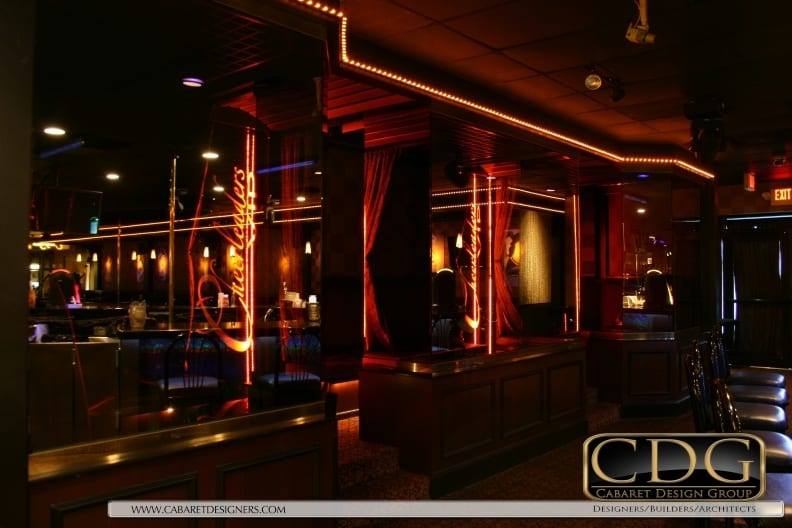 Photo of reflective architectural glass used in nightclub VIP area