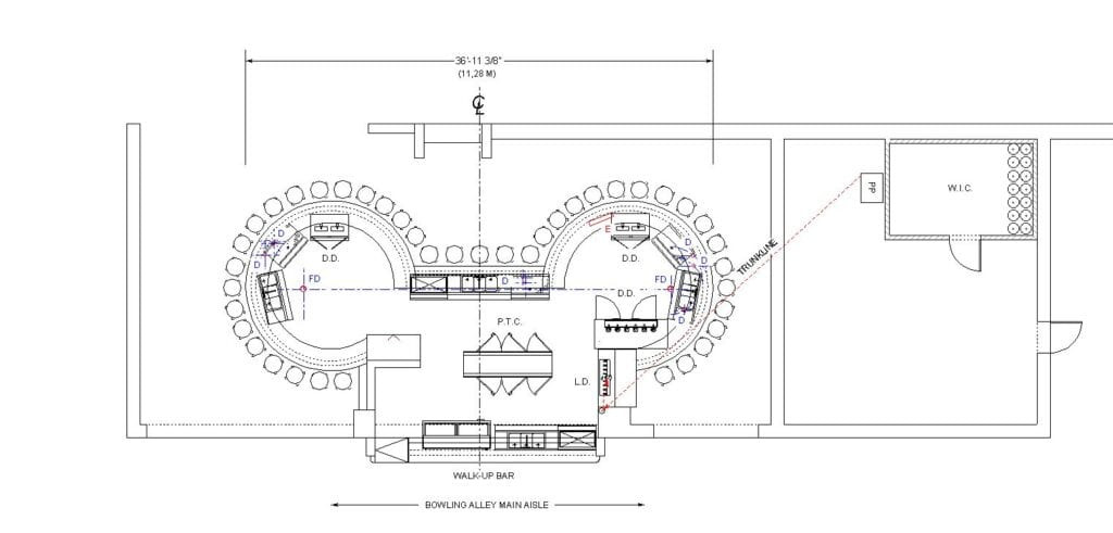 Architectural plan depicting the existing bar with equipment