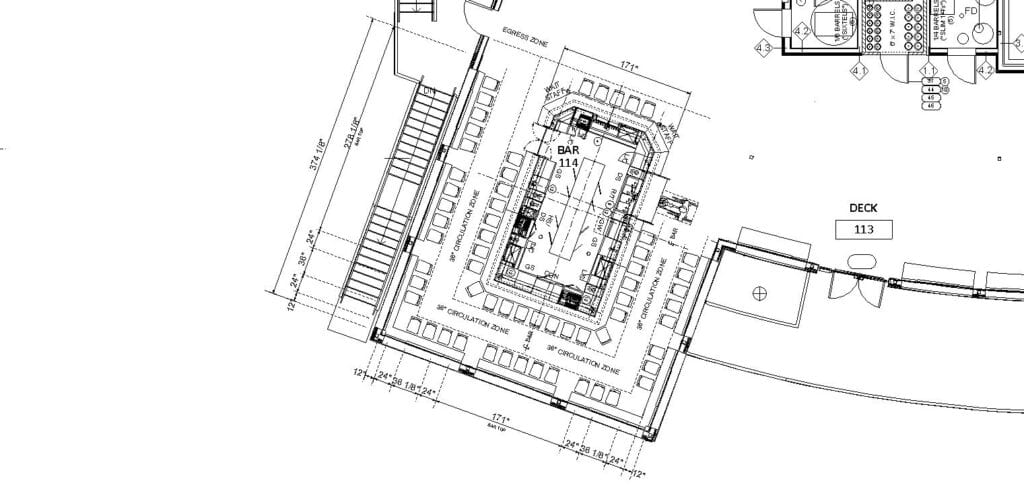 Architectural drawing of an island bar layout including clearance dimensions