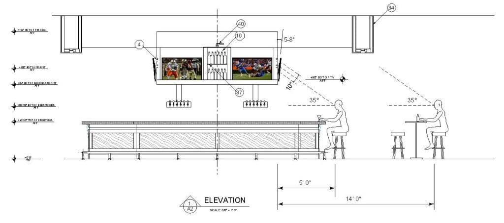 Architectural drawing showing the relationship between bar patrons, TV's and viewing angle