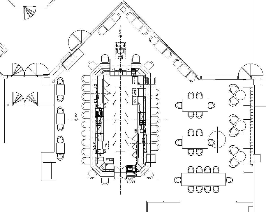 Architectural plan of bar dining area with seating for 22