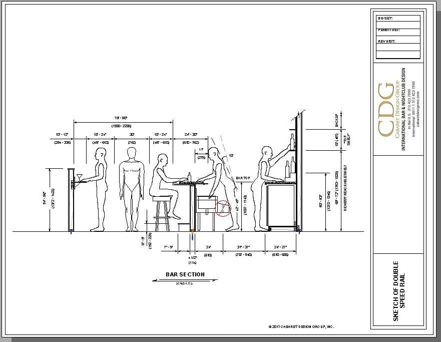 Architectural drawing of bar illustrating improper ergonomic layout of speed rails