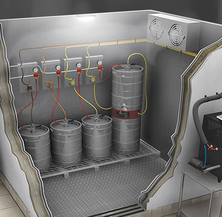 Photo depicting how draft beer barrels are stacked inside walk-in coolers