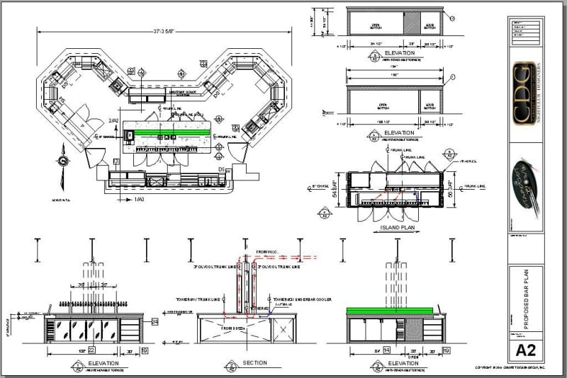 Architectural plan of large island bar and back bar with draft beer towers