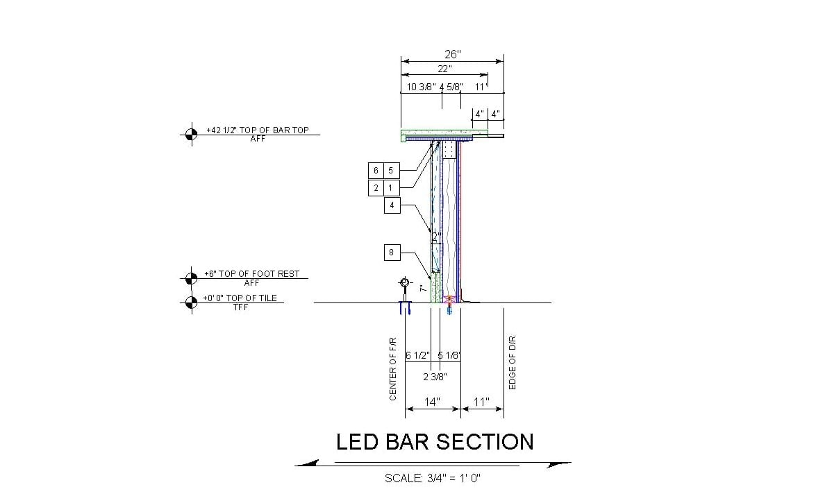 Architectural bar section view for backlit bar design