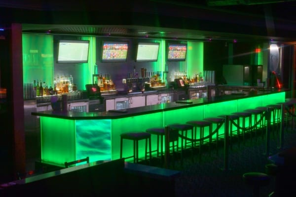 Photo of LED bar with architectural glass facade