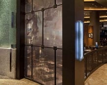 Photo of laminated digital imagery in bar design