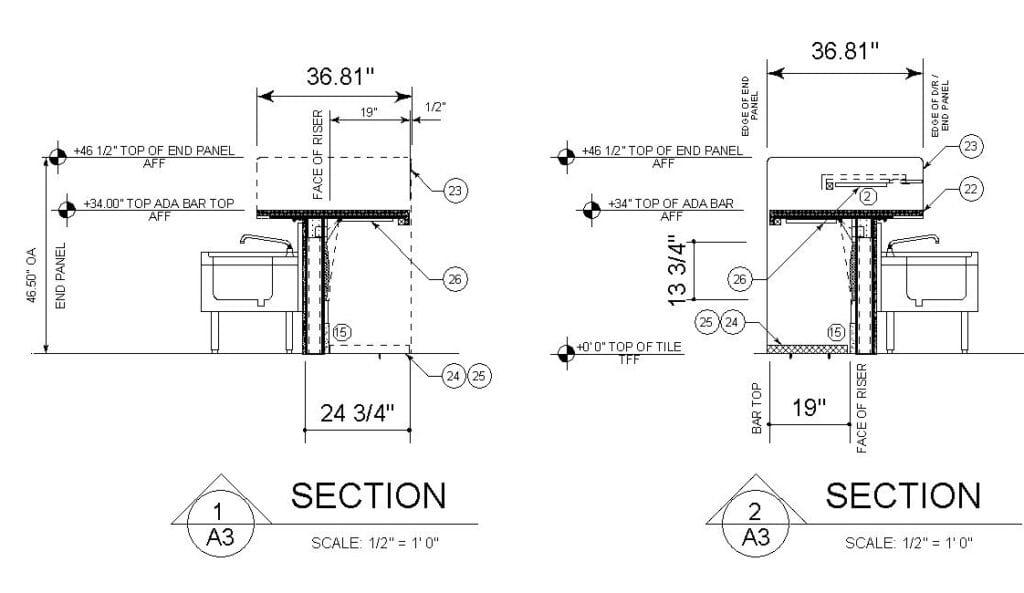 Sketch depicting proper design clearances for ADA bar seating