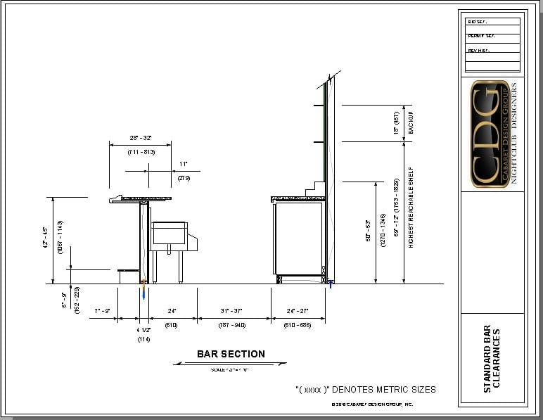 Architectural drawing of standard universal bar clearances