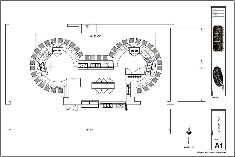 Architectural plan of a large circular island bar