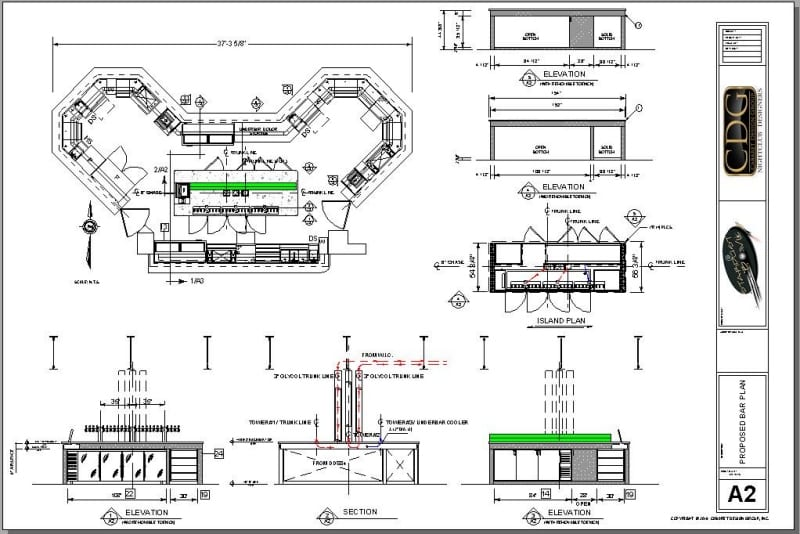 Architectural plan of redesigned large island bar with back bar