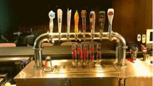 A custom draft beer kegerator