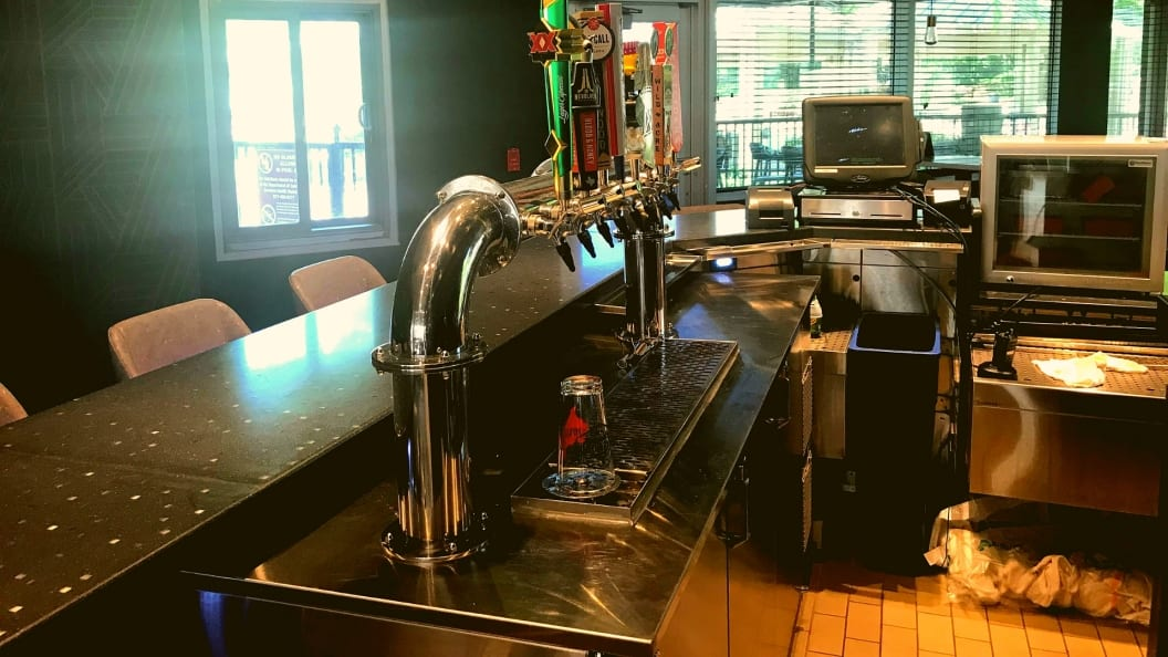 Photo of a built-in kegerator with a custom draft beer tower