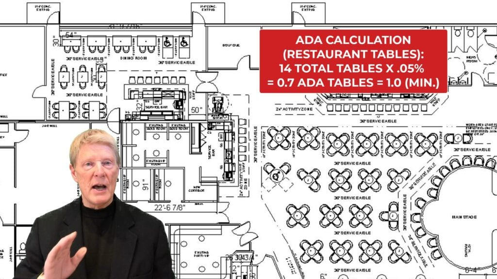 Architectural plan depicting ADA calculations for restaurant seating