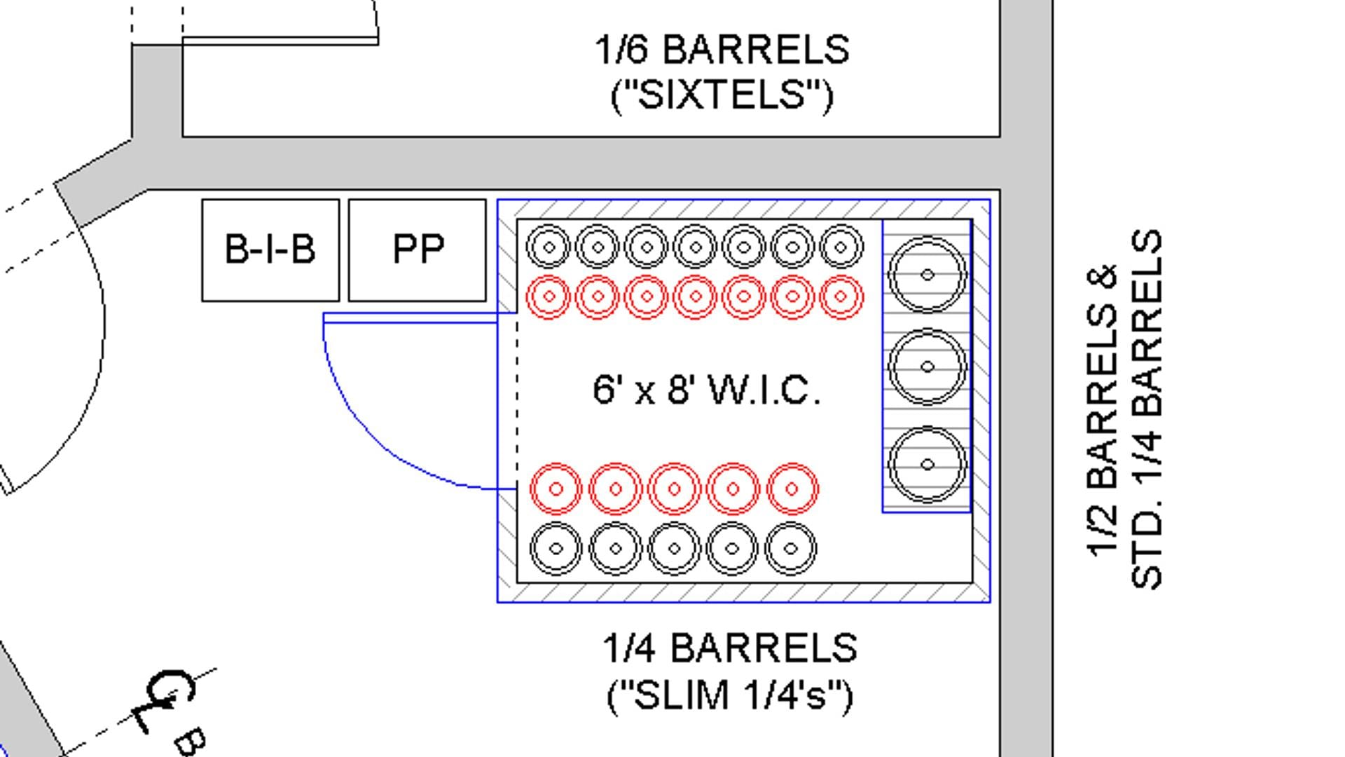 Architectural drawing depicting layout of draft beer barrels in walk-in cooler