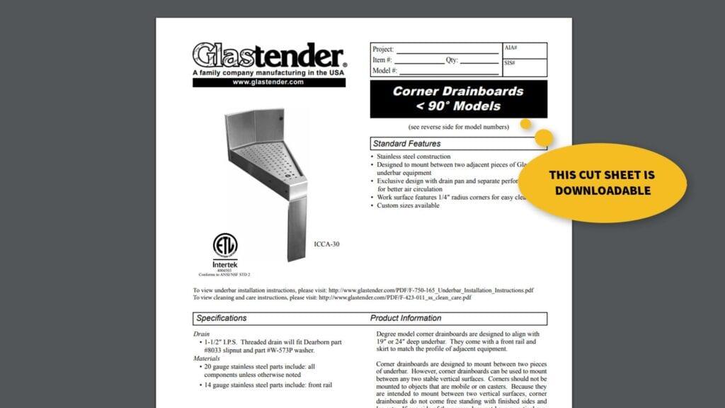 Image of Glastender angular drainboards for circular bar design