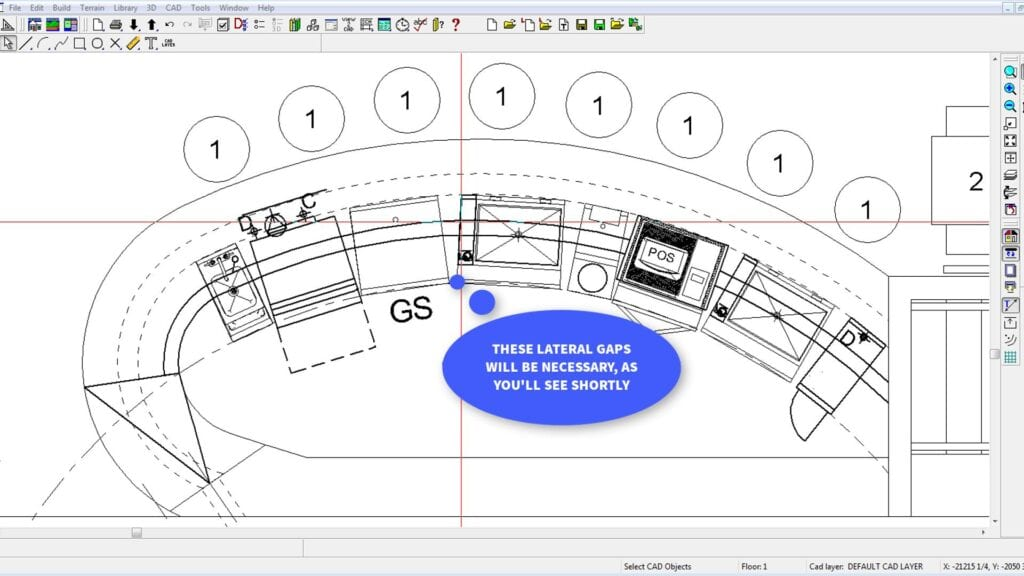 Architectural drawing of curved bar with gaps for filler boards