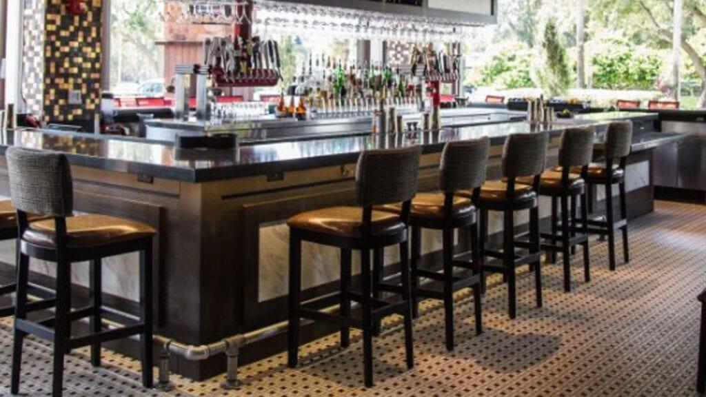 Photo of Wilsonart laminates and quartz used on the Tony Roma's bar in Orlando, FL