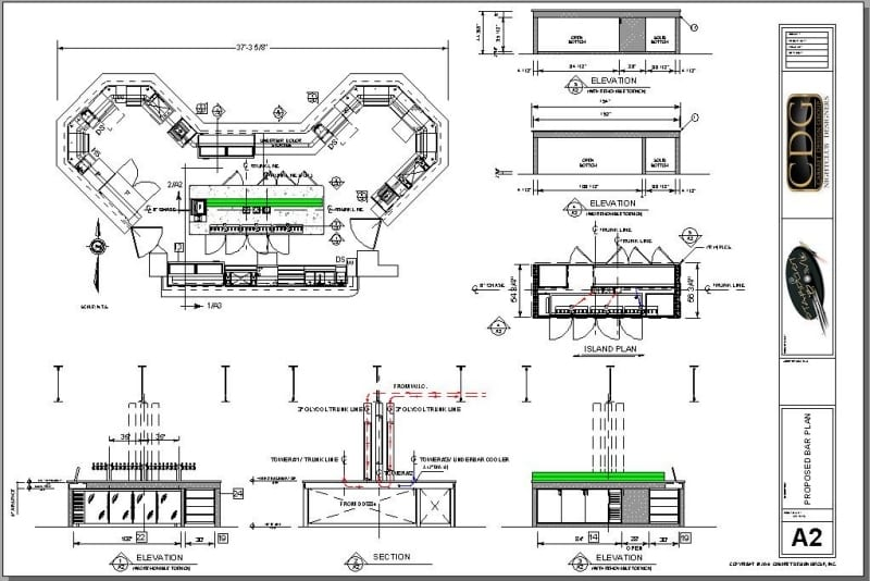 Bar plan of Club 300 at Stardust Bowl in Addison, IL