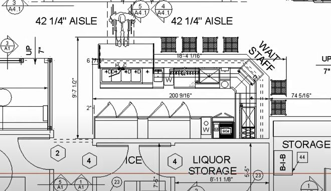 Architectural drawing of L-shaped bar with ADA accommodation