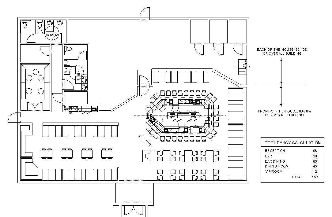 Architectural drawing of restaurant / sports bar with an occupancy of 157