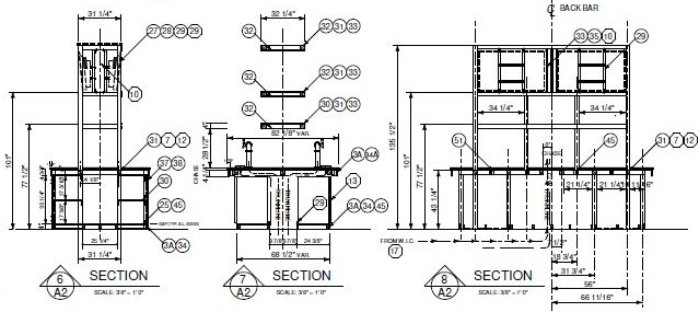 Architectural drawing of steel details of hotel island back bar design