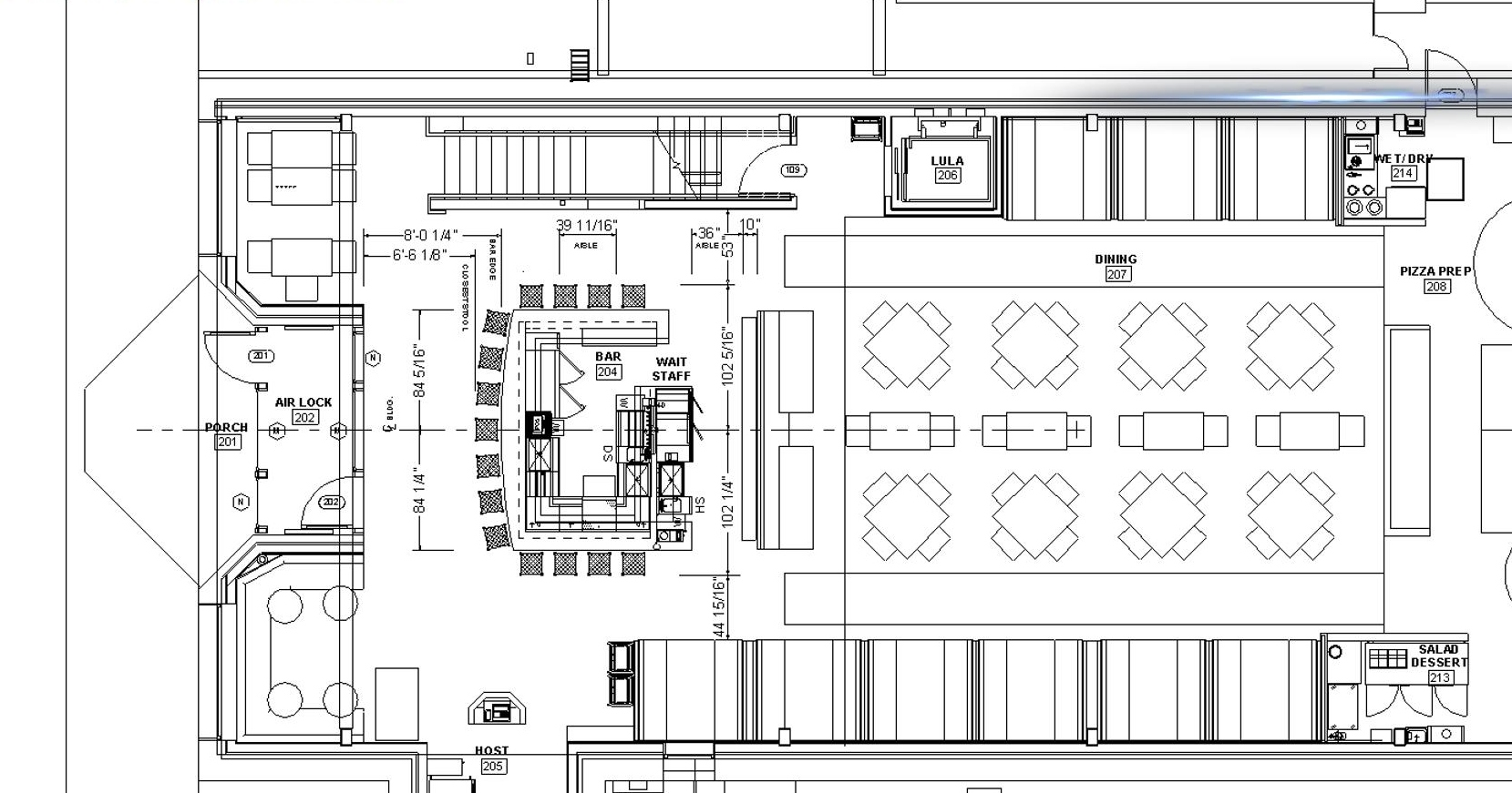 Architectural drawing of restaurant/bar with an occupancy of 145