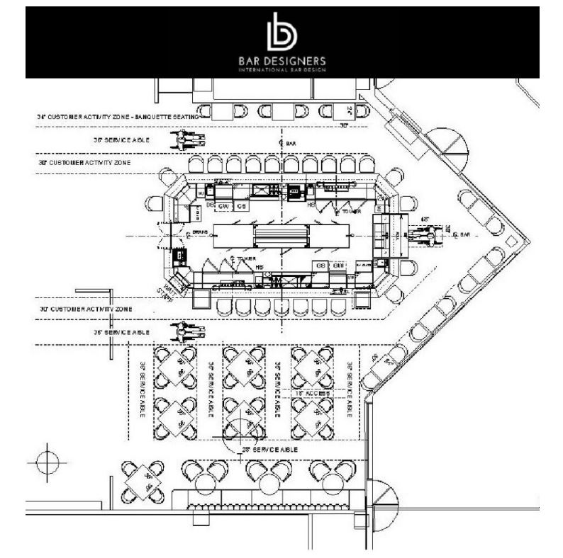 Architectural drawing depicting seating guidelines for bars and restaurants