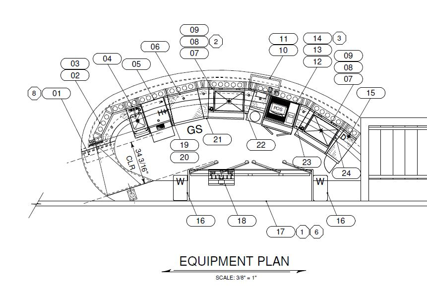 Architectural drawing of bar equipment for a curved bar