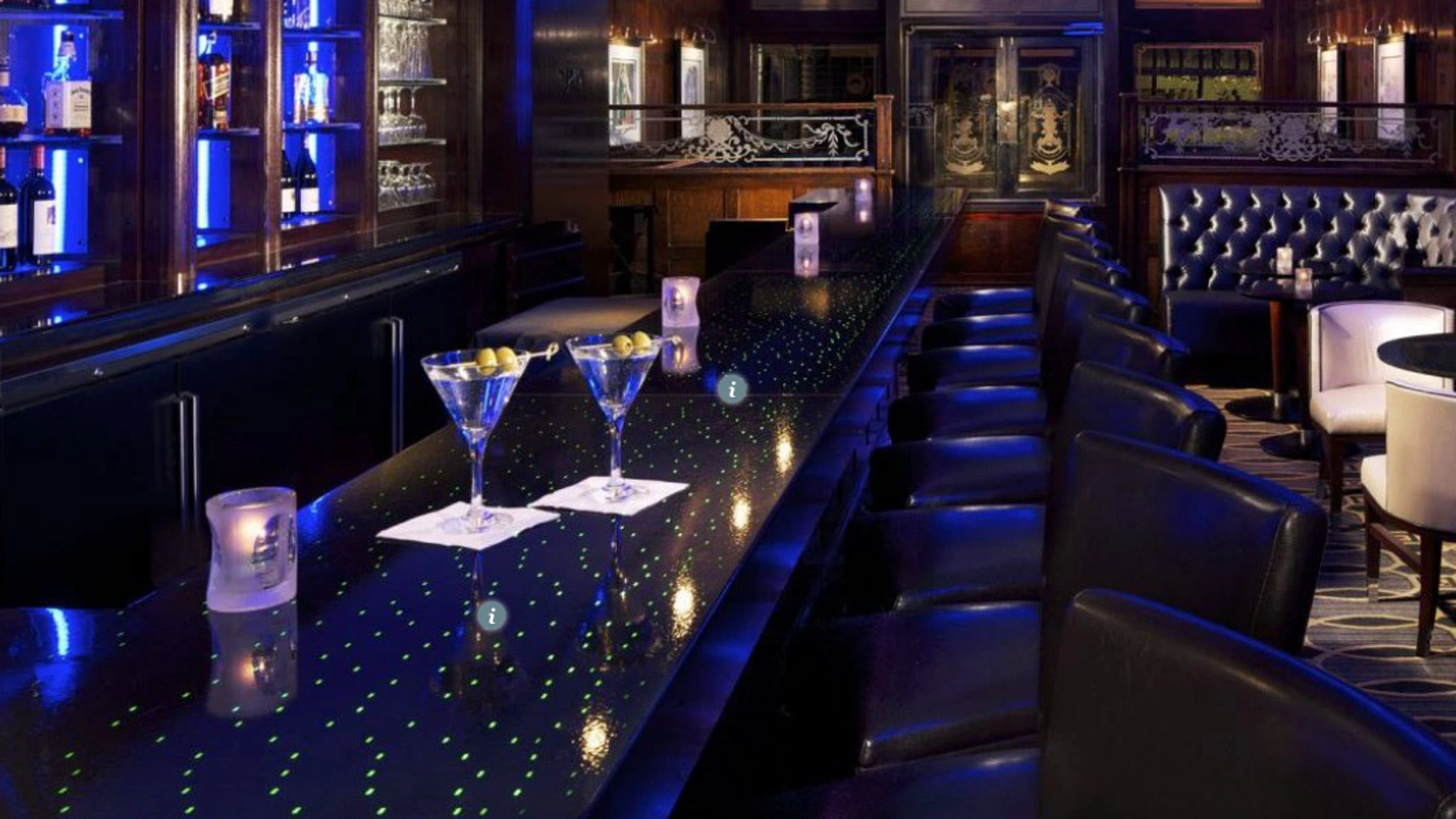Photo of edge-lit LED bar top by Sensitile Systems