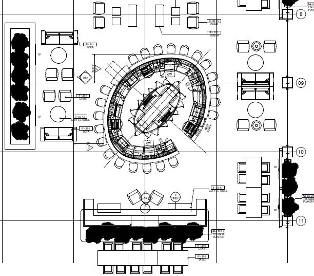 Architectural plan of hotel lobby island bar