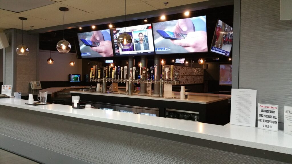 Photo of redesigned walk-up bowling alley bar