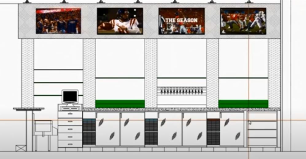Architectural drawing of back bar with beer wall and alcohol displays