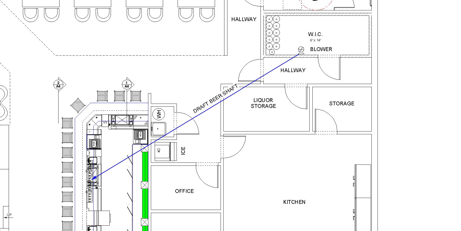 Architectural plan of air cooled draft system in a sports bar