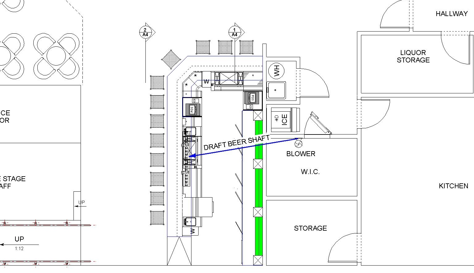 Architectural plan of air cooled draft system with nearby walk-in cooler
